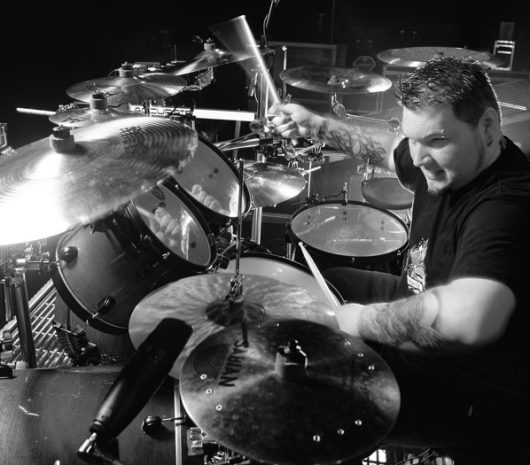 Rocky Gray playing cymbals