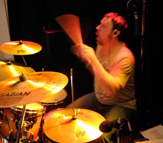 Ron Briggs playing cymbals