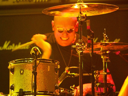 Ron Gannaway playing cymbals