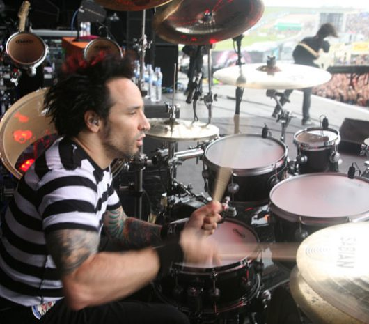 Roy Mayorga playing cymbals