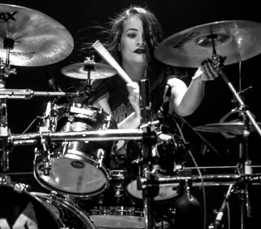 Samantha Landa playing cymbals