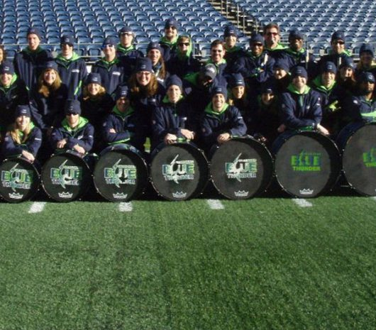 Seattle Seahawks Blue Thunder playing cymbals