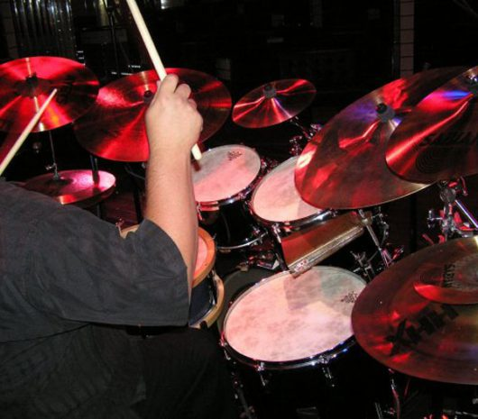 Seth Burkhart playing cymbals