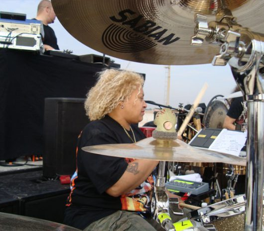 Stefanie Eulinberg playing cymbals