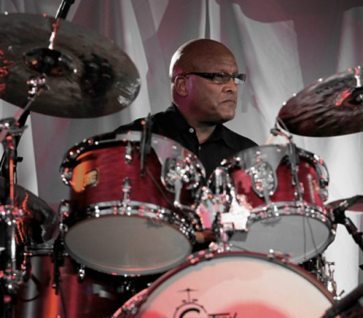 Steve Ferrone playing cymbals
