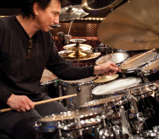 Terry Bozzio playing cymbals