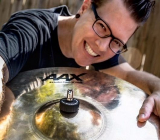 Tom Gascon playing cymbals