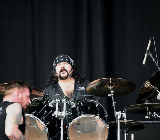 Vinnie Paul playing cymbals